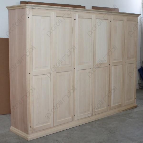 Pratelli mobili armadio su misura grezzo 6 ante cappello dritto pratelli mobili - Armadi per esterno in legno ...