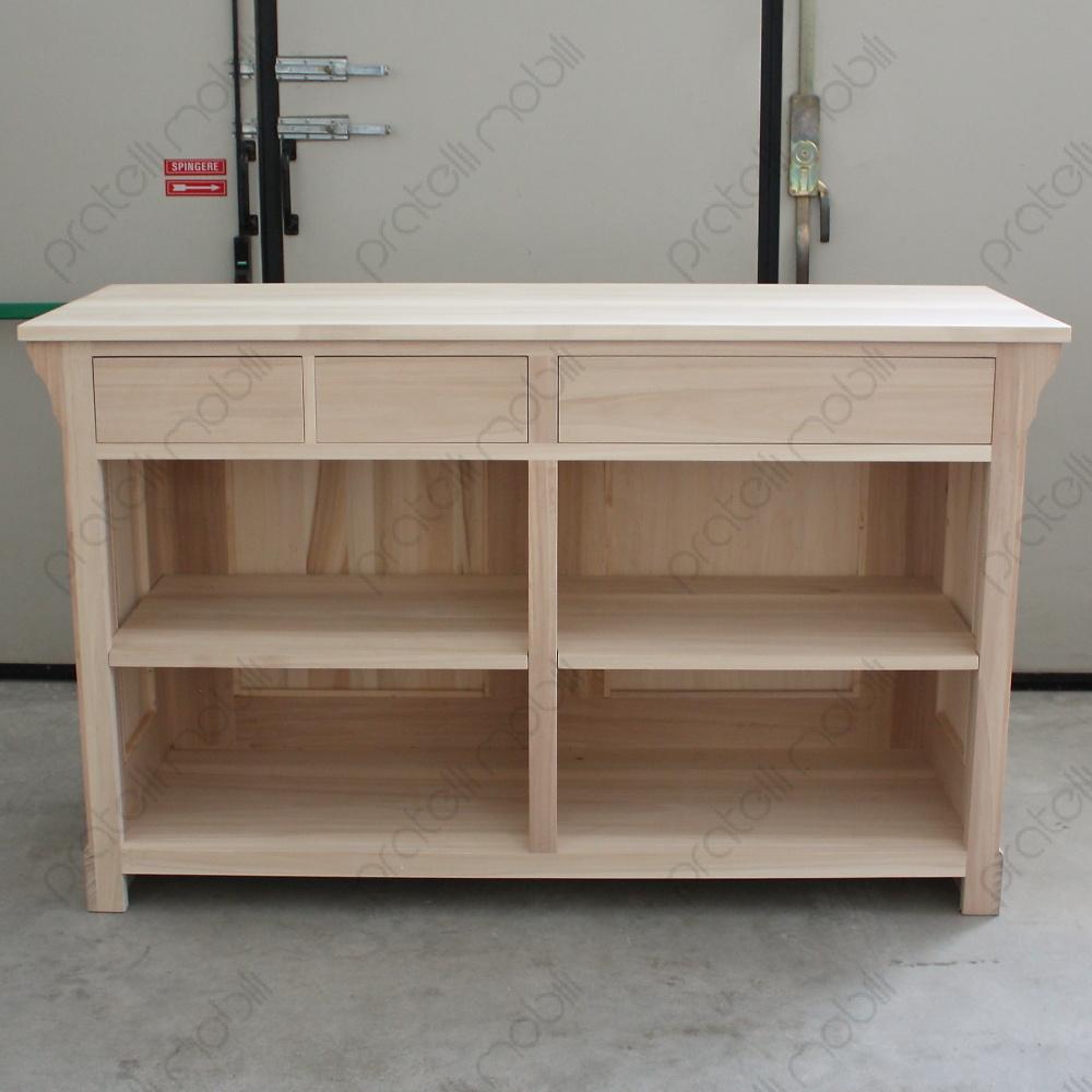 Pratelli mobili bancone su misura da negozio in legno - Mobile bagno legno grezzo ...
